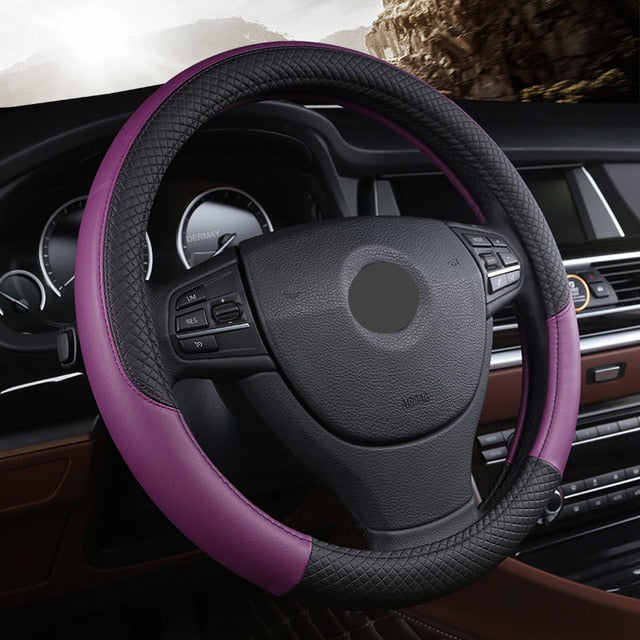PU Leather Universal Car Steering Wheel Covers | Anti-Slip Automotive Accessories