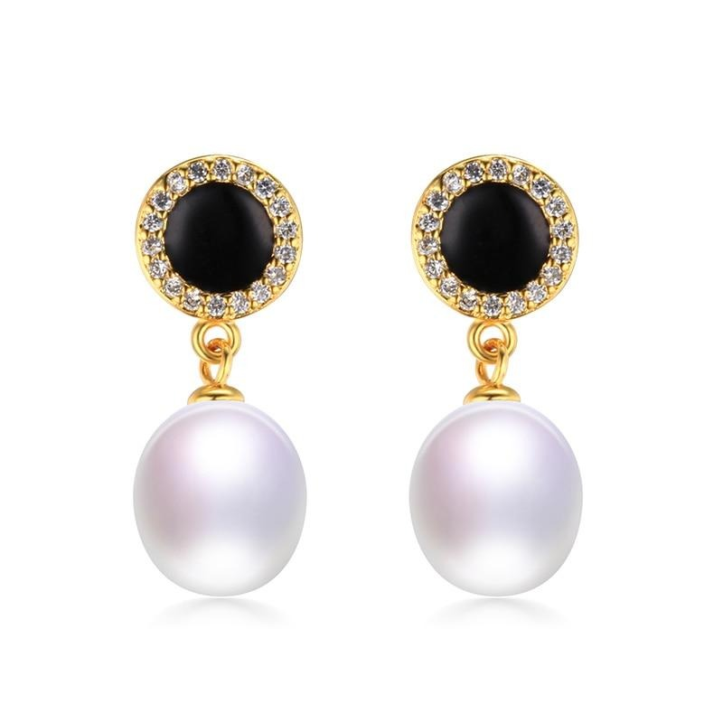 Real Natural Pearl Jewelry Earrings,Elegant 925 Sterling Silver Women Drop Zircon Earring,High Luster Pearl Gold Color,Gift Box