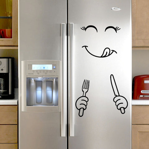 Cute Sticker Fridge Happy Delicious Face Kitchen Fridge Wall Refrigerator Vinyl Stickers Art Wall Decal Home Decor Dropshipping