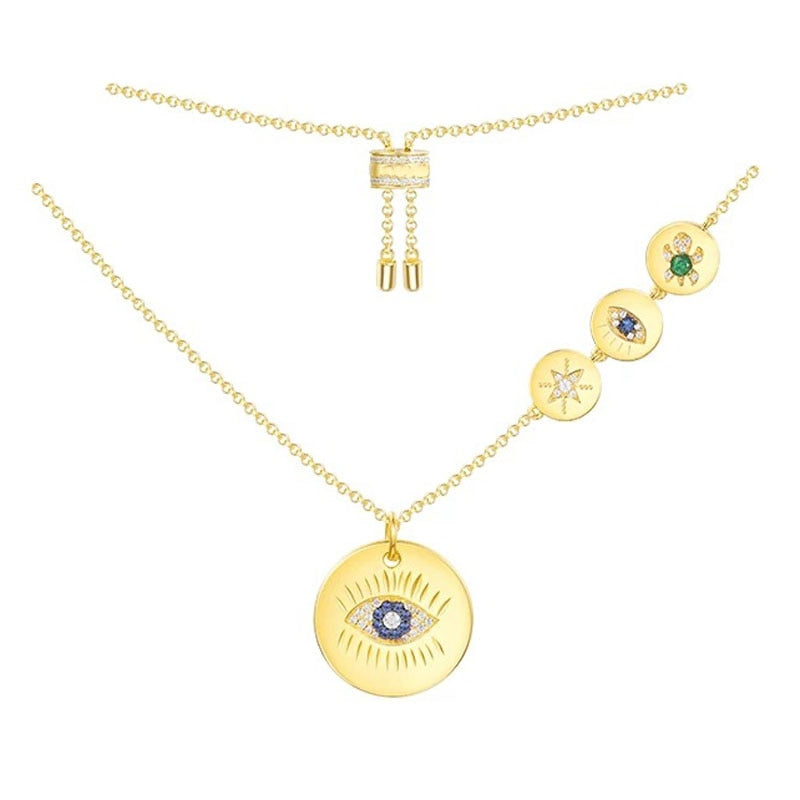SLJELY Real 925 Sterling Silver Gold Color Blue CZ Zirconia Stones Lucky Eye Turtle Symbol Pendant Necklace Women Luxury Jewelry