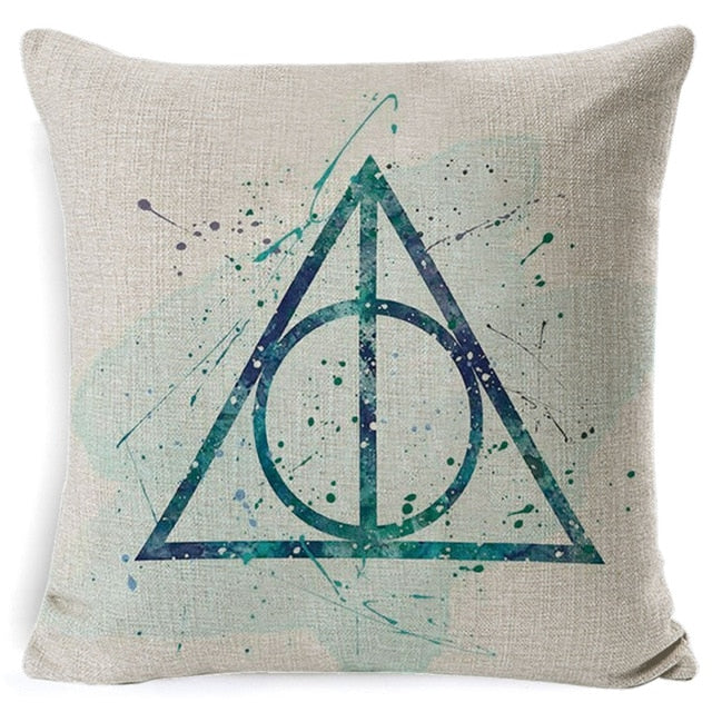 PEIYUAN Harry Potter Pillow Cotton Linen Goblet of Fire The Deathly Hallows Home Decorative Pillow Cover for Sofa Cushion Cover