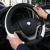 DERMAY Leather Universal Car Steering-wheel Cover 38CM Car-styling Sport Auto Steering Wheel Covers Anti-Slip