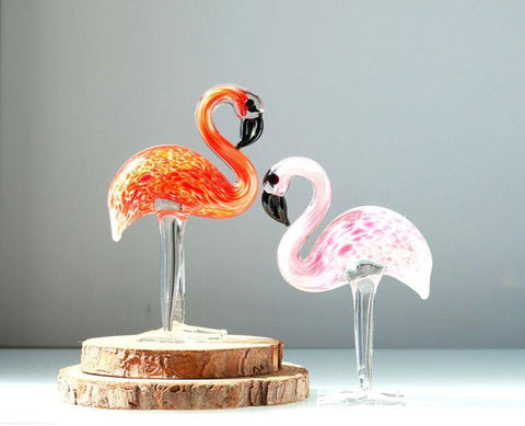 H&D Glass Ornament Sculpture - Art Glass Hand Blown Glass Animal Figurine Home Decoration 2PCS Flamingos (red and pink)