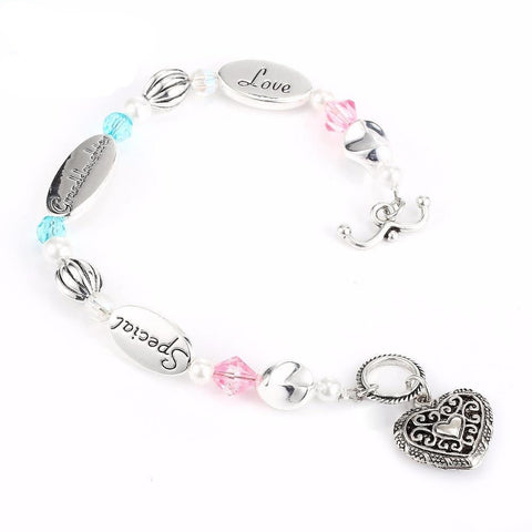 AMORUI Granddaughter Love Heart Charm Bead Bracelet Homme Bijoux Femme Pink/Blue Crystal Pearl Silver Bracelets for Women Gift