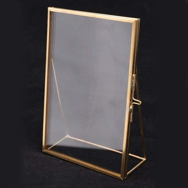 Simple Antique Rectangular Freestanding Transparent Glass Photo Frame for Home Decoration - Gold