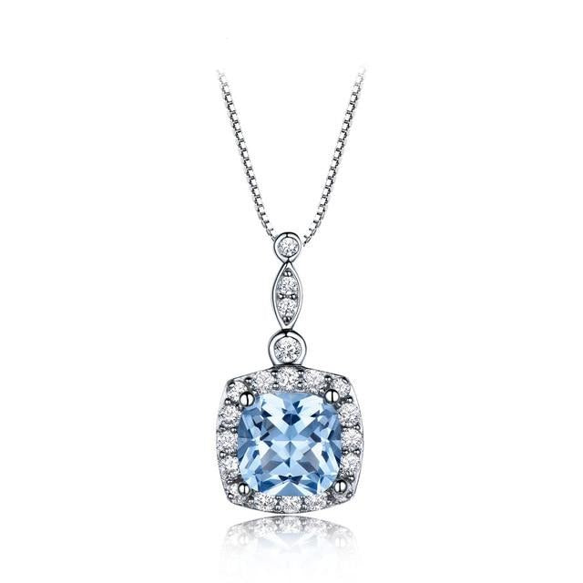 UMCHO Solid 925 Sterling Silver Necklaces Pendants Sky Blue Topaz Necklace For Women Engagement Wedding Christmas Jewelry New