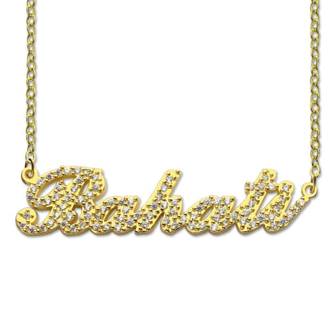 AILIN Sparkling Cut Carrie Style Name Necklace Gold Color Personalized Nameplate Necklace Custom Jewelry for Her