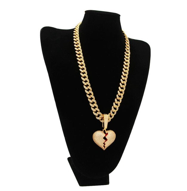THE BLING KING Heartbreak Pendant Necklace With 13mm Cubic Zirconia Cuban Link Chain Fashion Hiphop Luxury Iced Out Jewelry