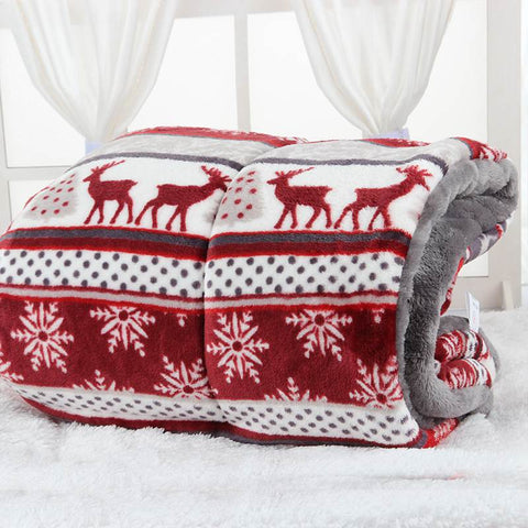 Urijk Snowflake Printing Dog Bed Blanket Soft Flannel Fleece Warm Pet Sleeping Bed Cover Mats For Small Dog Christmas Decoration