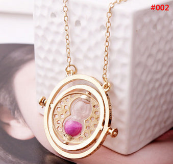 Free DHL 100pcs/lot Wholesale Fashion Jewelry Potter Time Turner Pendant Necklace Sand Glass Necklace For Women