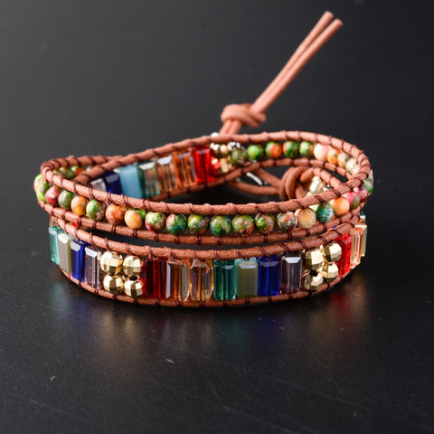 New Chakra Bracelet Fashion Jewelry  Natural Stone Bead Handmade Crystal Leather Bracelet Wrap Bracelet HandWork Drop Shipping