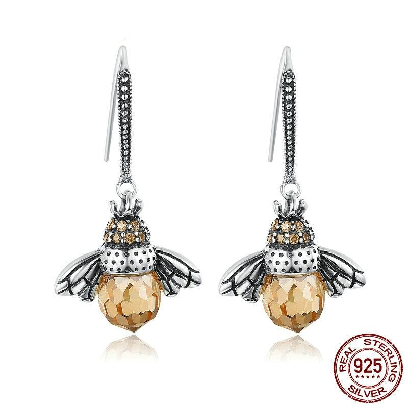 BAMOER Hot Sale Genuine 925 Sterling Silver Lovely Orange Bee Animal Drop Earrings for Women Fine Jewelry Gift Bijoux SCE149