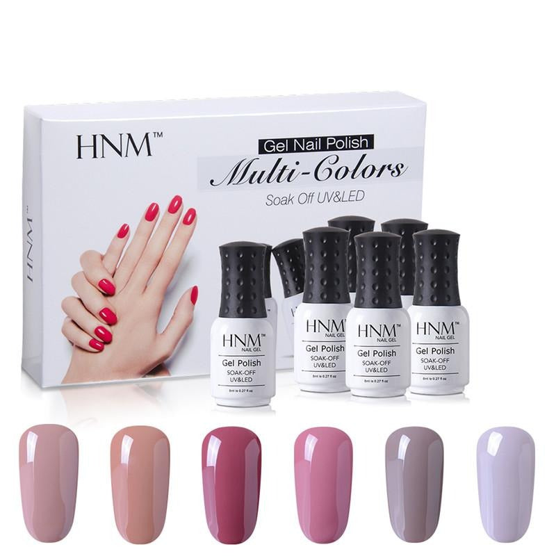 HNM Gift Box Kit Soak Off Lucky Lacquer for Nail Art DIY Hybrid Varnish Enamel 6PCS/KIT Classic Series Set UV Gel Nail Polish