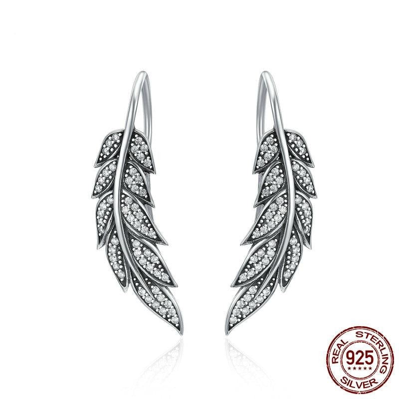BAMOER Fashion 925 Sterling Silver Vintage Feather Wings Long Drop Earrings for Women Sterling Silver Jewelry Brincos SCE215