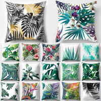 RIANCY Tropical Decoration Print Cactus Monstera Cushion Cover Polyester Throw Pillow Sofa Home Decorative Pillowcase 40506-1