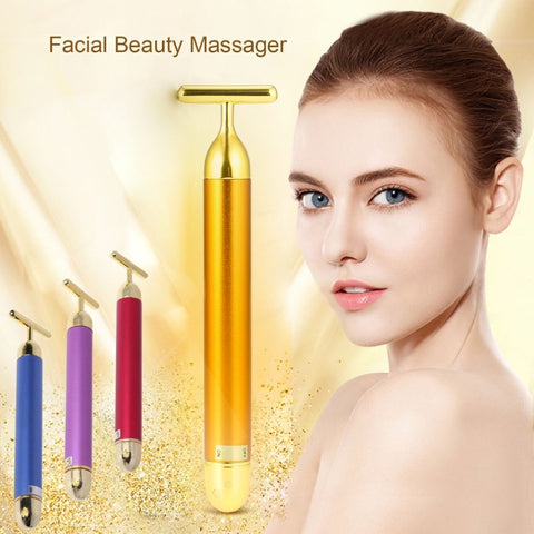 Slimming Face roller  Pop 24k Gold Colour Vibration Facial Beauty Roller Massager Stick Lift Skin Tightening Wrinkle Bar