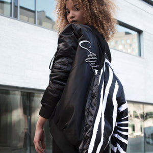 African Design Satin Bomber Jacket