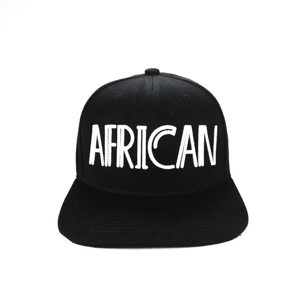 african snap back hat