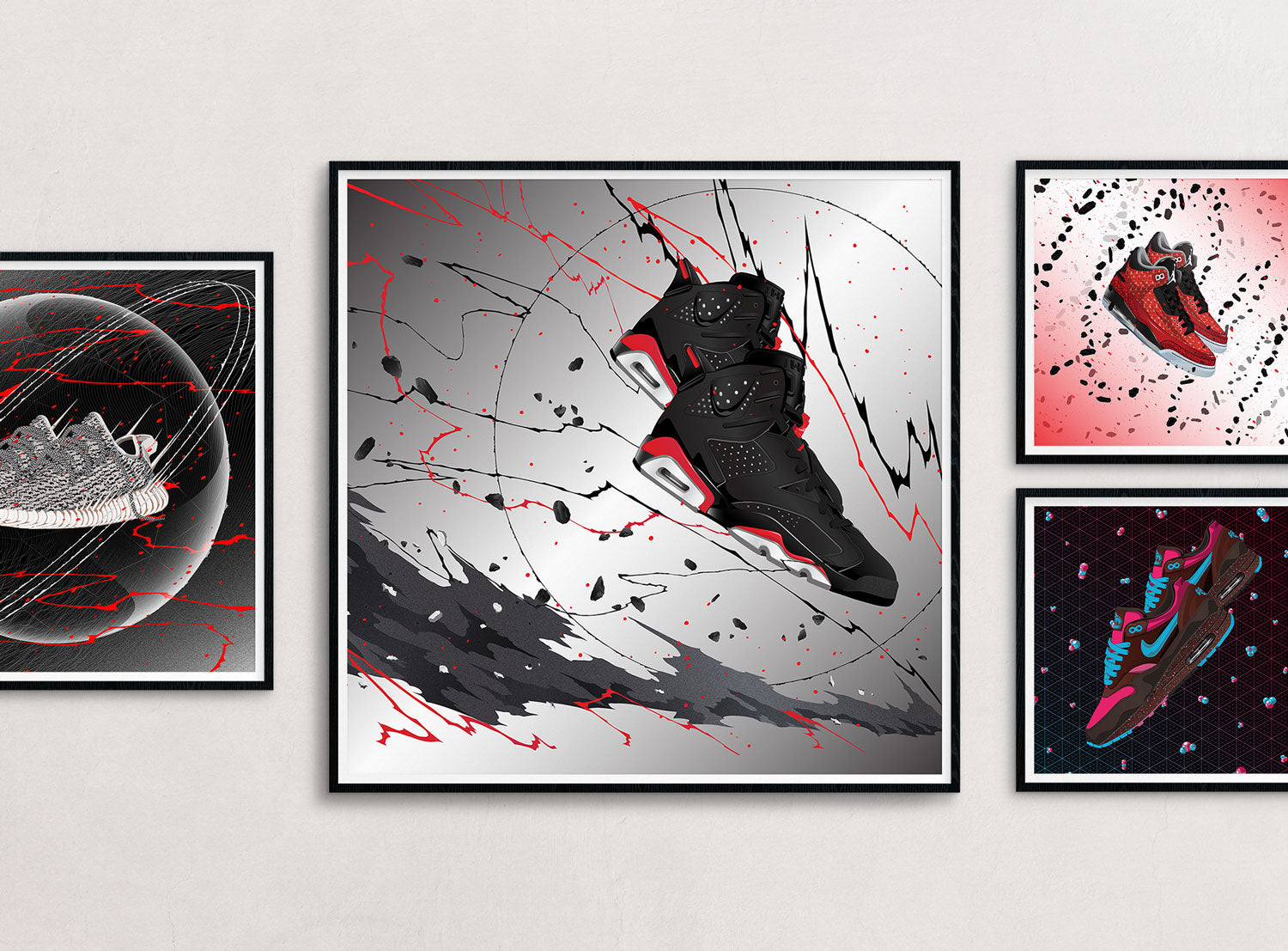 A combination of framed prints around the large sized sneaker art print