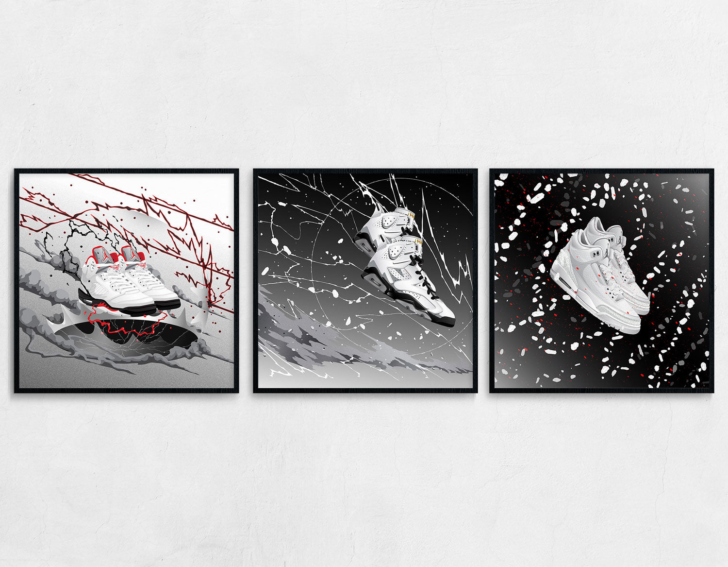 A 3 Piece combination of the framed medium sized Sneaker art prints