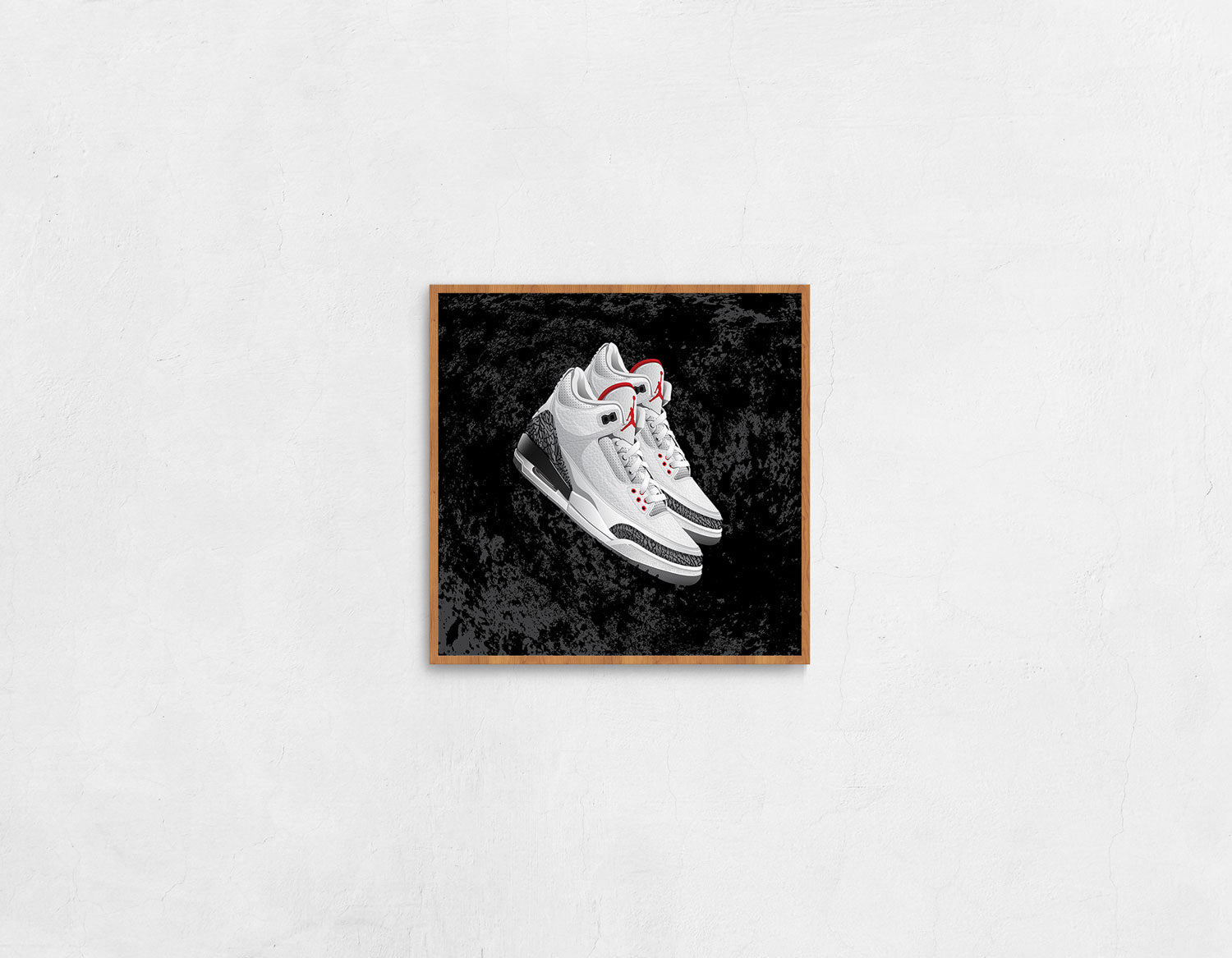 Stand-Alone Framed Medium Sized Sneaker Art Print of the Air Jordan 3 Cement