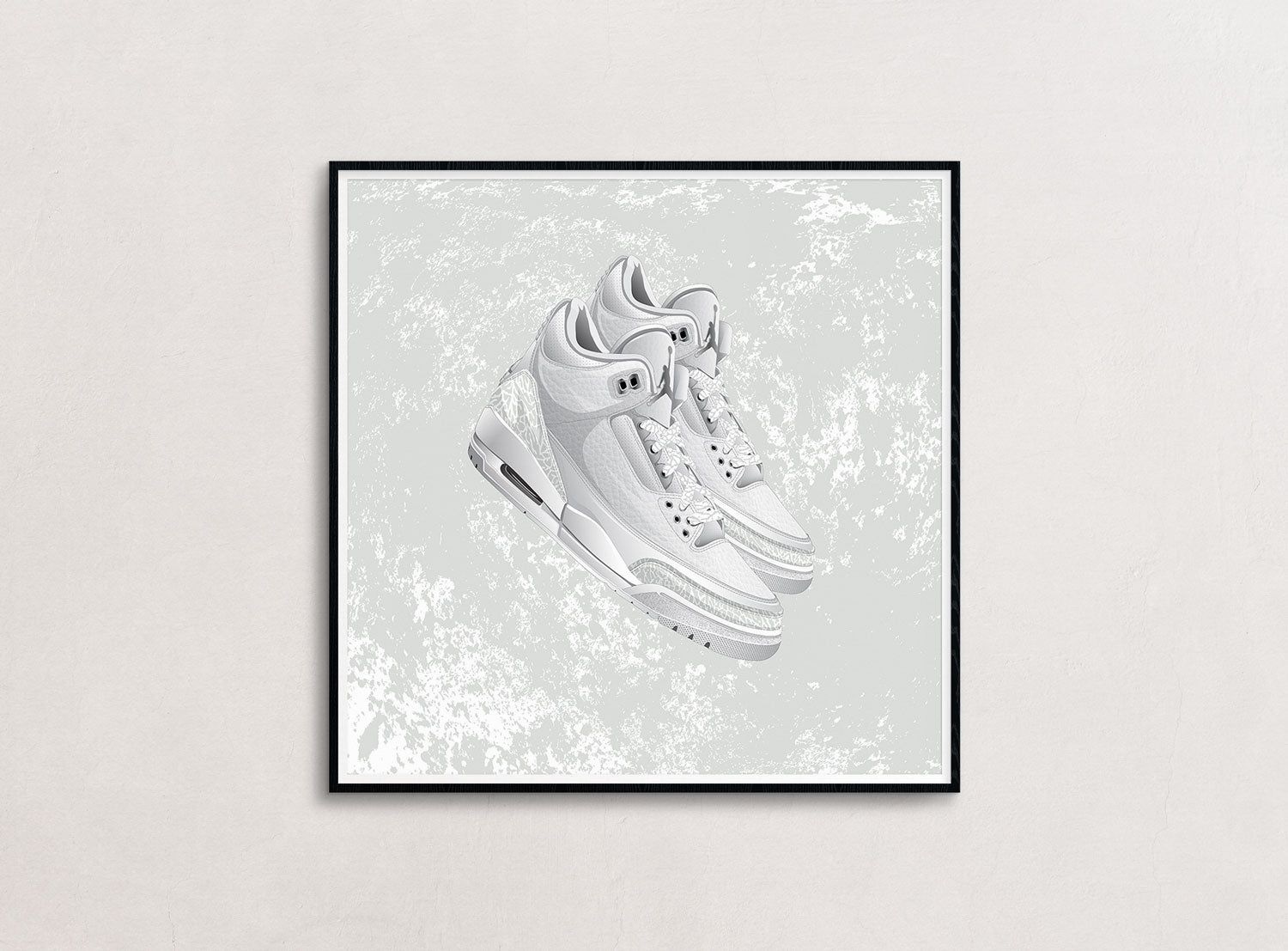 A framed large size print of the Air Jordan 3
