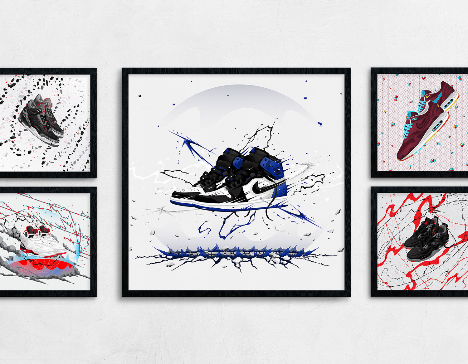 Framed Sneaker Art of the Air Jordan 1 Fragment Design