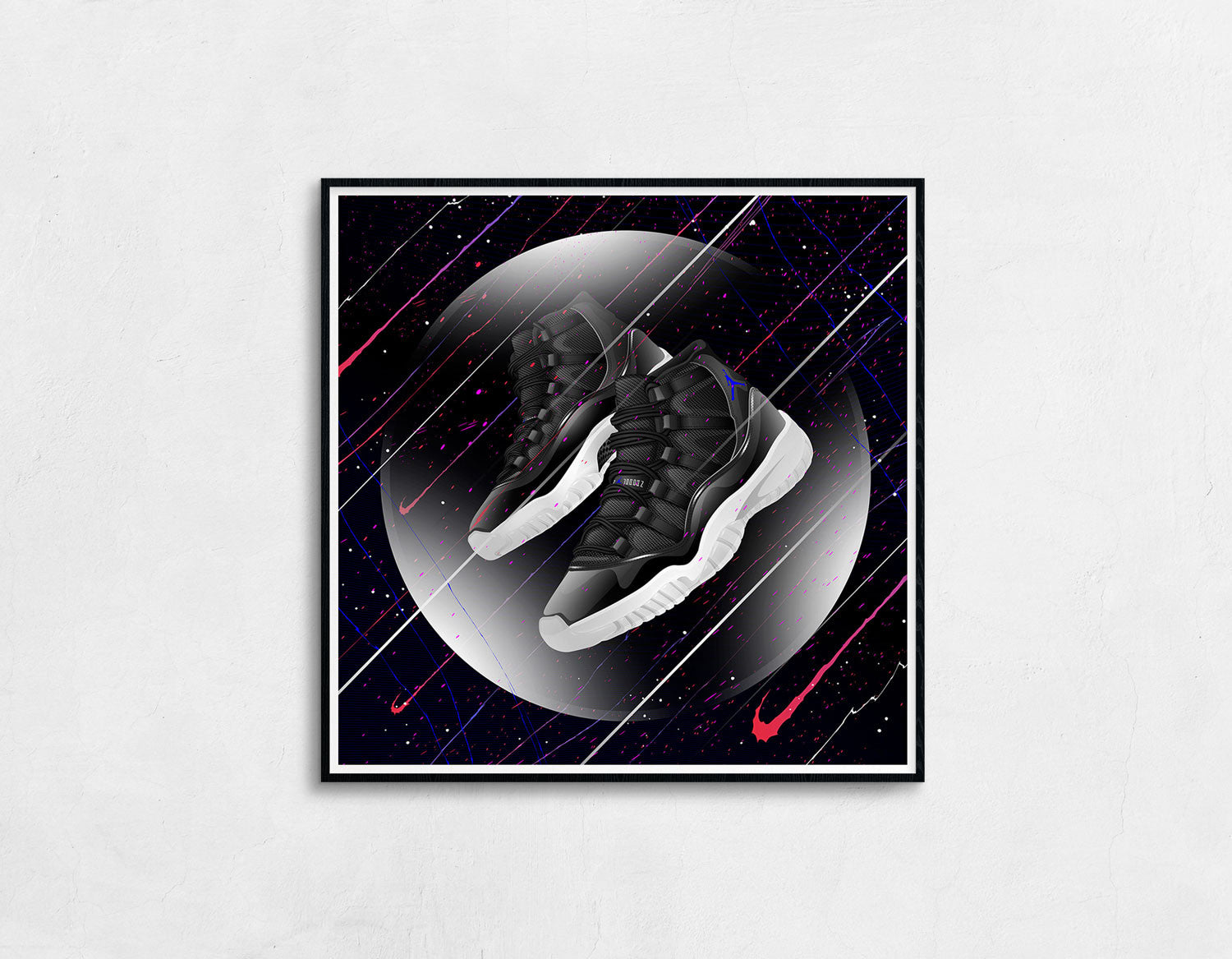 Framed view of the Air Jordan 11 Space Jame Sneaker Art Print
