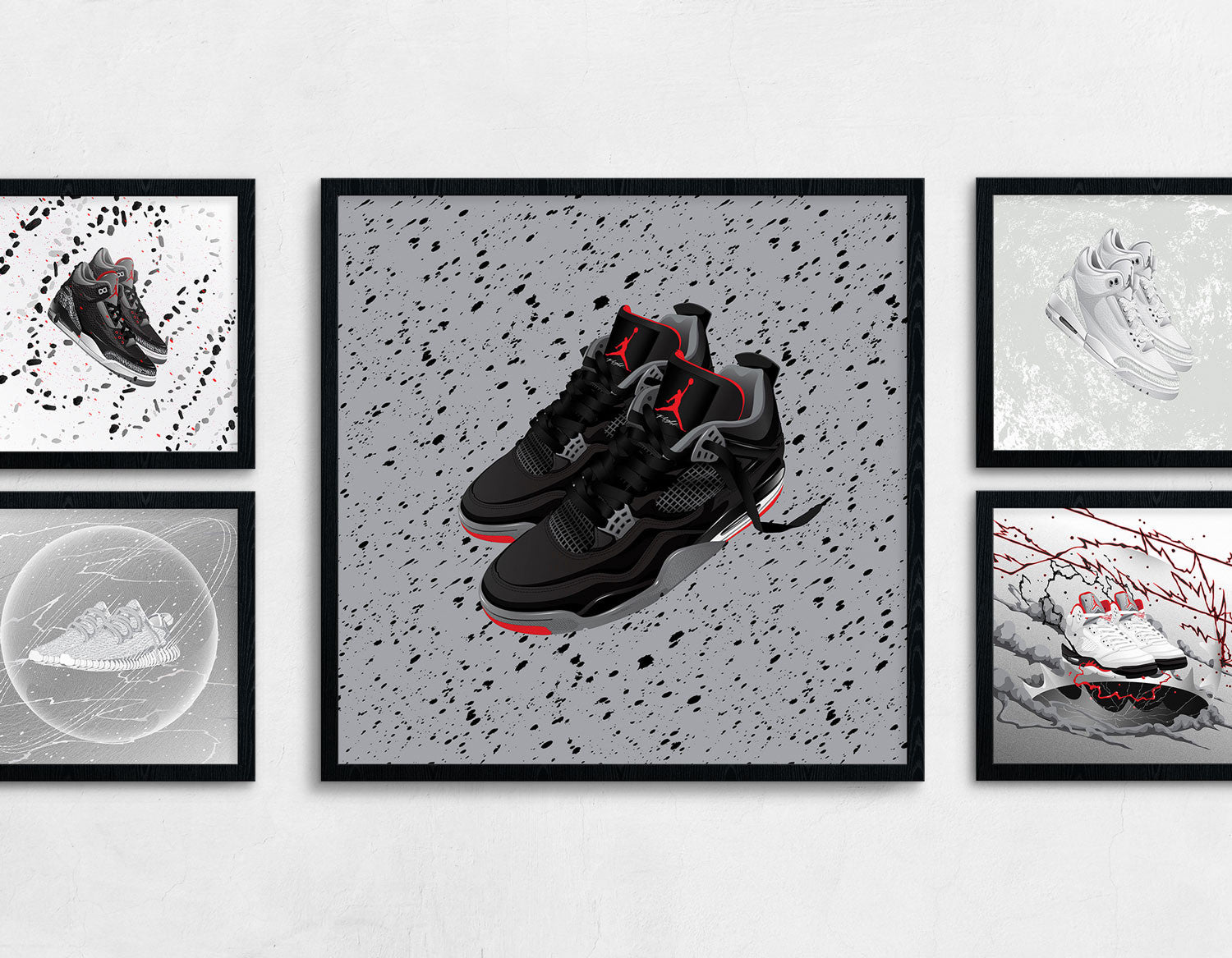 Framed contemporary sneaker art of the Air Jordan 4 Bred