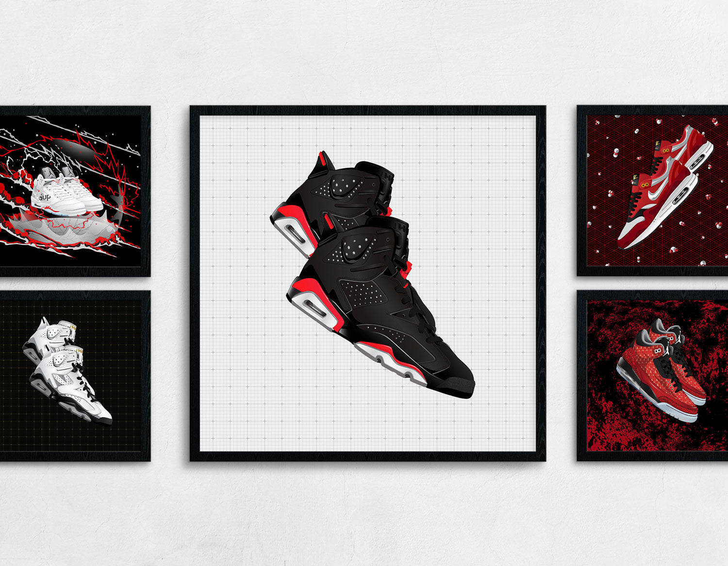 Framed Contemporary Sneaker Art of the Air Jordan 6 Bred