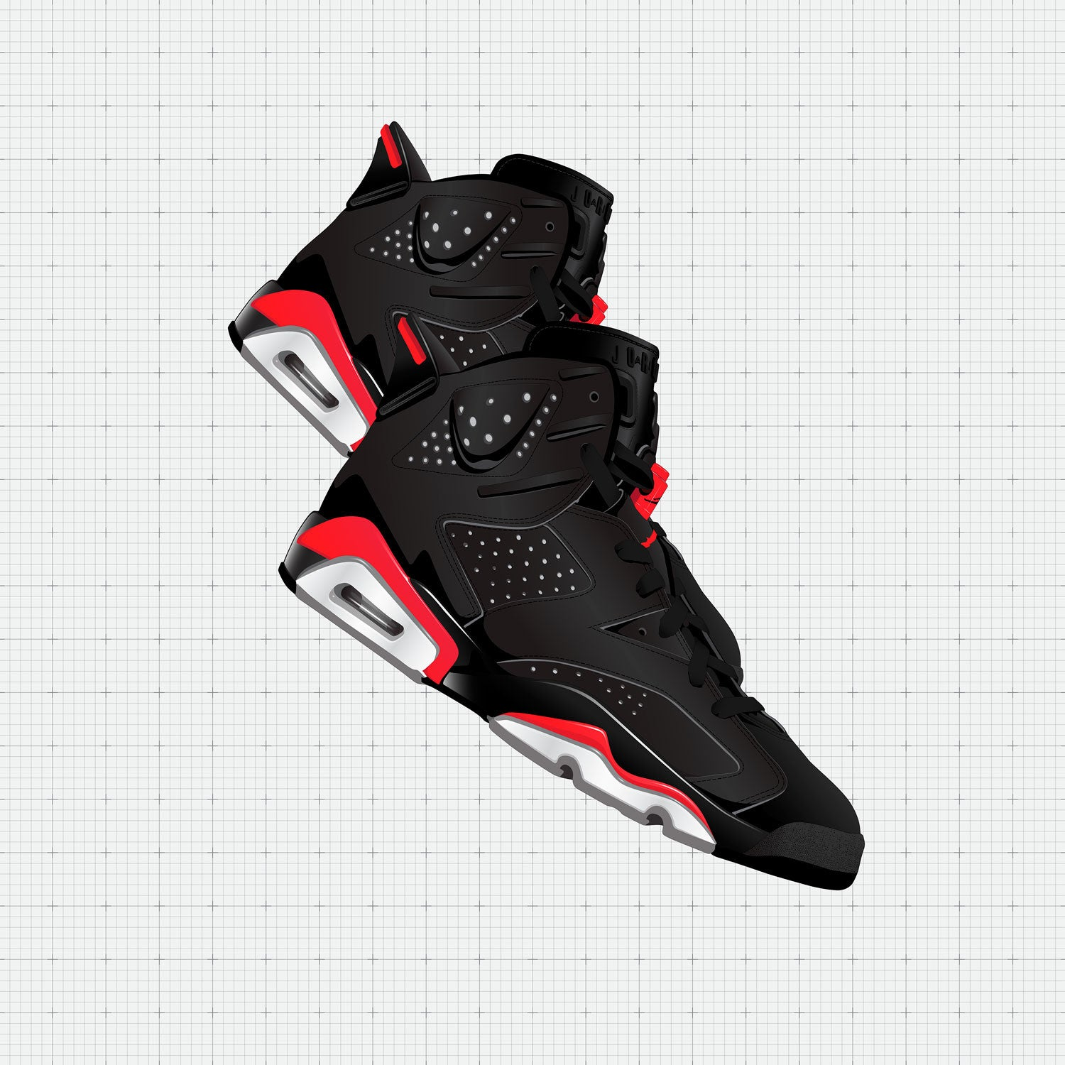 Contemporary Sneaker Art of the Air Jordan 6 Bred