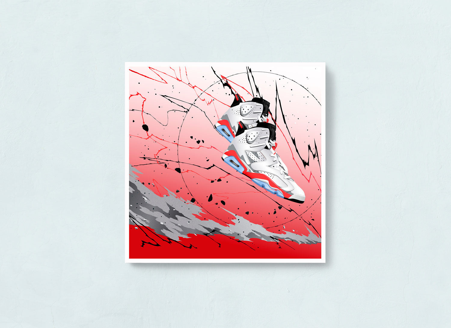 Fine Sneaker Art Print of the Air Jordan 6 White Infrared