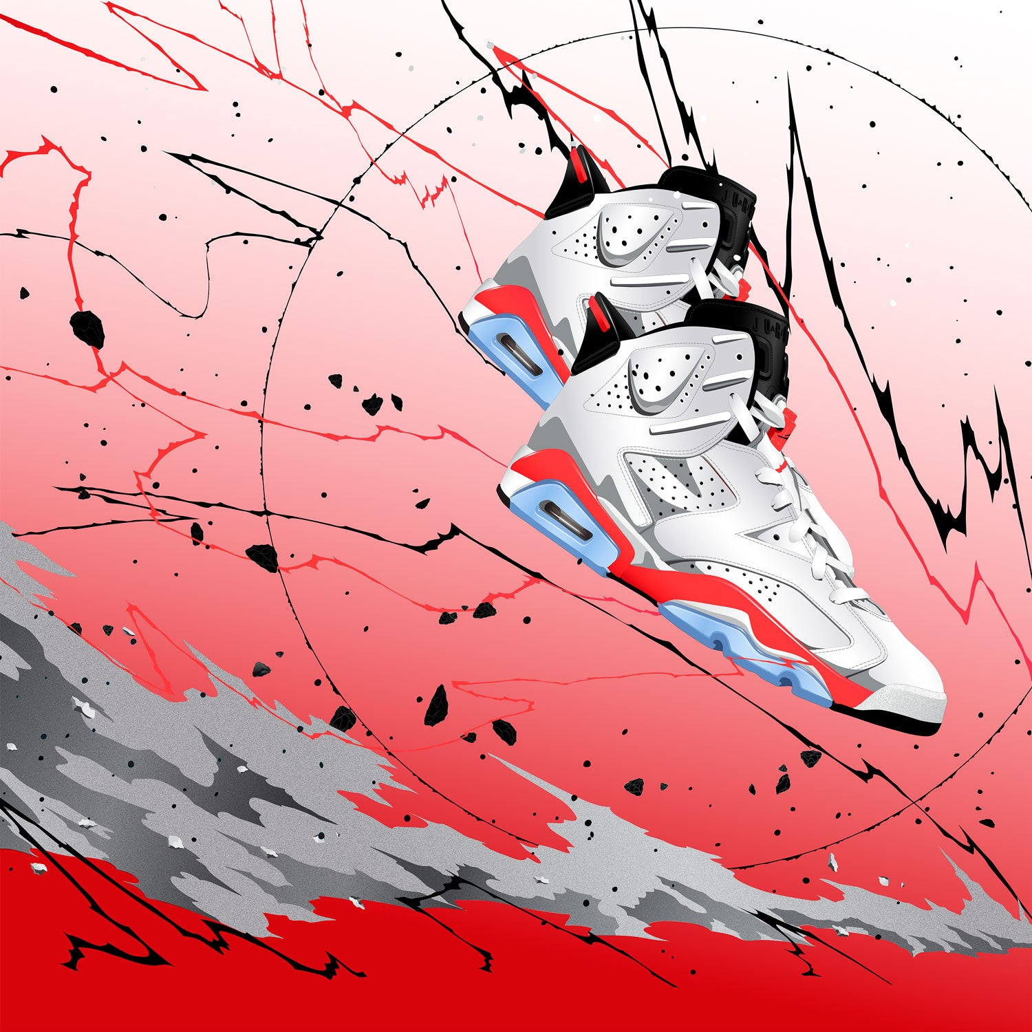 Fine Sneaker Art of the Air Jordan 6 White Infrared
