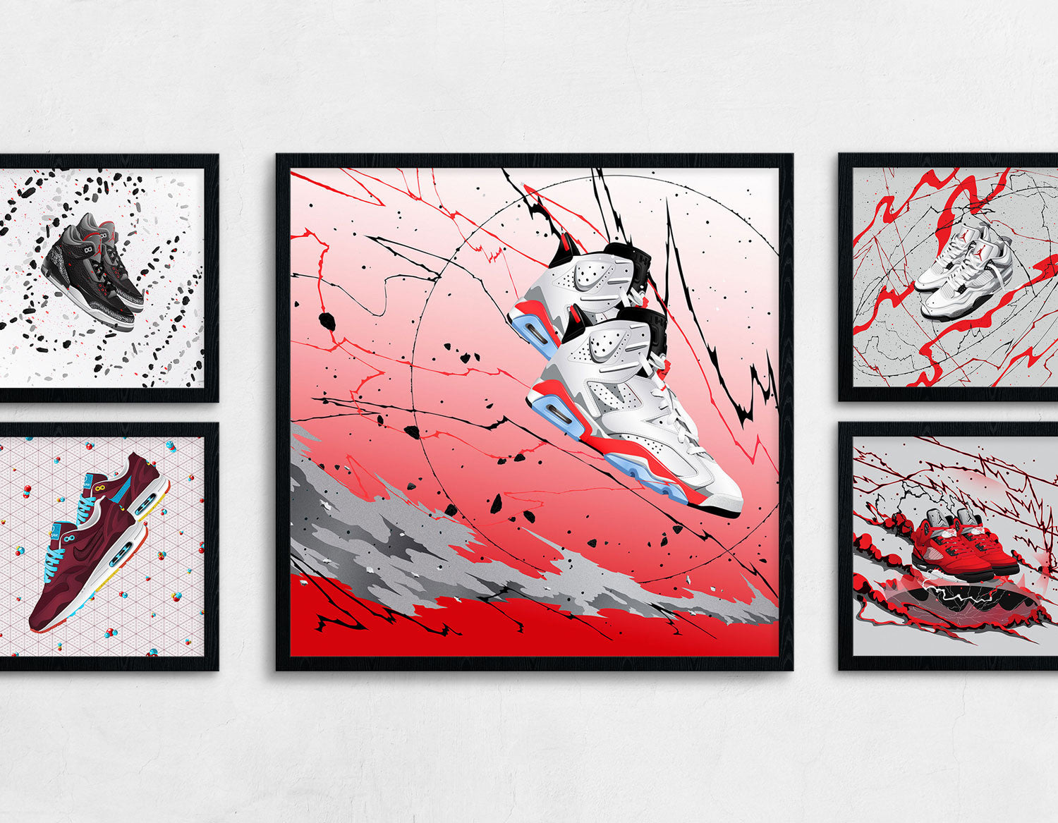Framed Sneaker Art of the Air Jordan 6 White Infrared