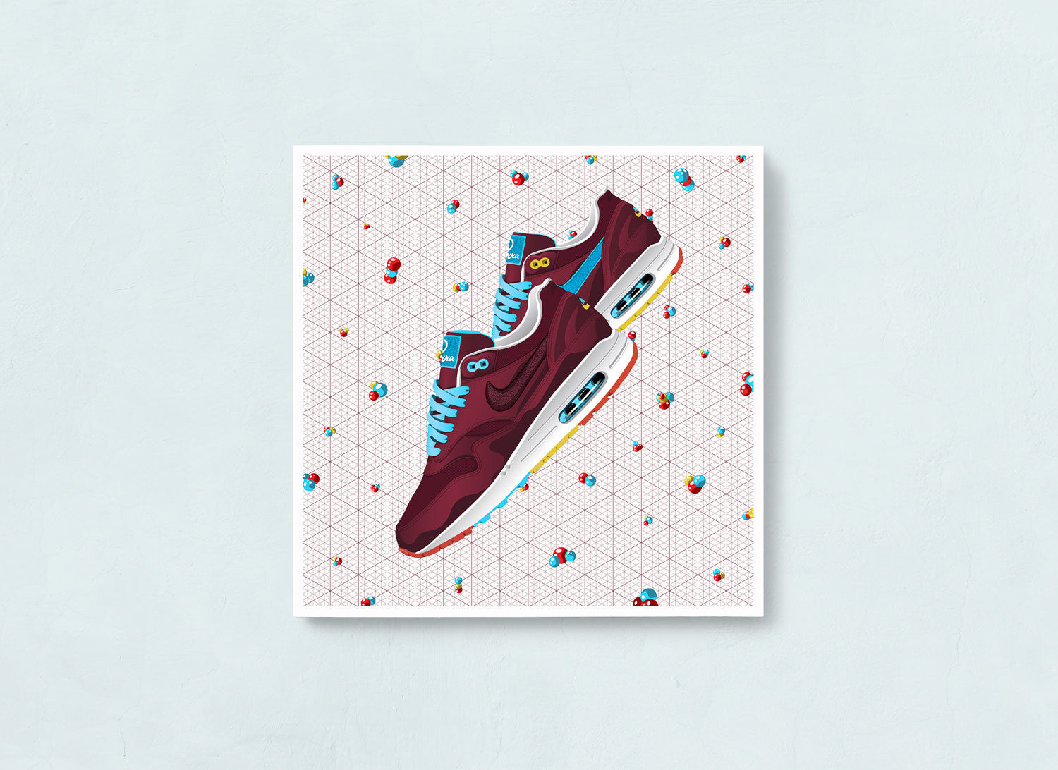 Contemporary Sneaker Art Print of the Nike Air Max 1 Patta x Parra