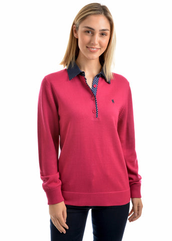 Thomas Cook Womens Jeanette Merino Blend Rugby - Berry