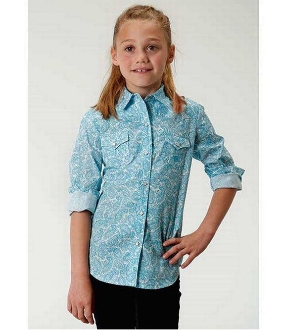 Roper Girls Sky Paisley Shirt
