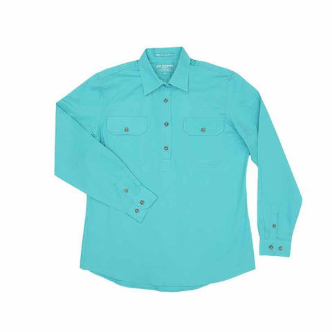 Just Country Jahna 1/2 Button Work Shirt - Turquoise