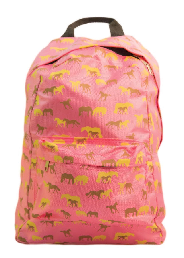 Pink Pony Print Lightweight Kids Backpack