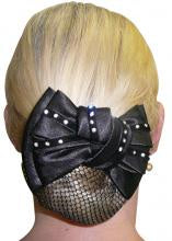 Diamontes On Velvet Show Bow with Hair Net - Black