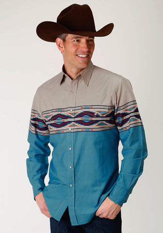 Roper Mens West Made Collection - Aztec Border Long Sleeve Shirt