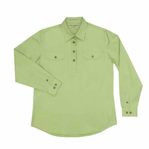 Just Country Jahna 1/2 Button Work Shirt - Lime Green