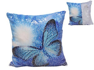 Sequinned Blue Butterfly Cushion