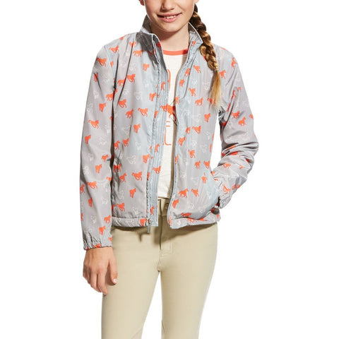 Ariat Girls Laurel Jacket Coastal Gray Ponies
