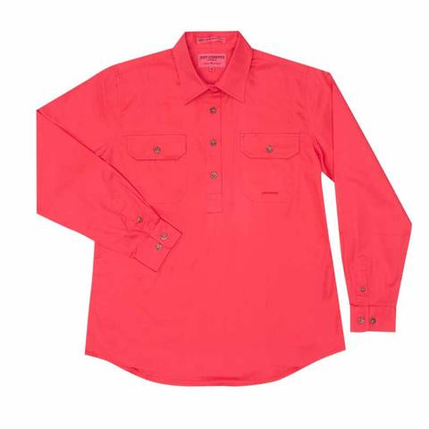Just Country Jahna 1/2 Button Wokr Shirt - Raspberry