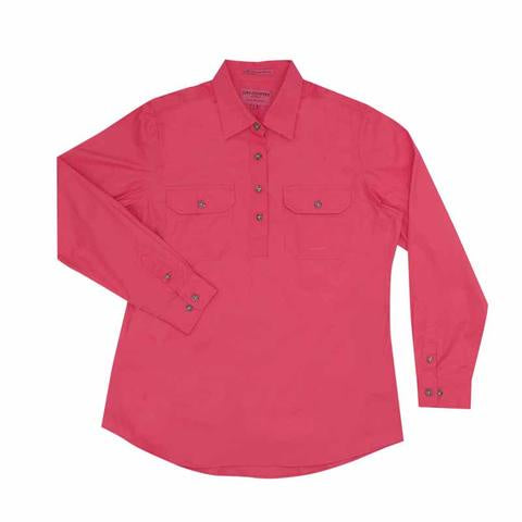 Just Country Jahna 1/2 Button Work Shirt - Hot Pink