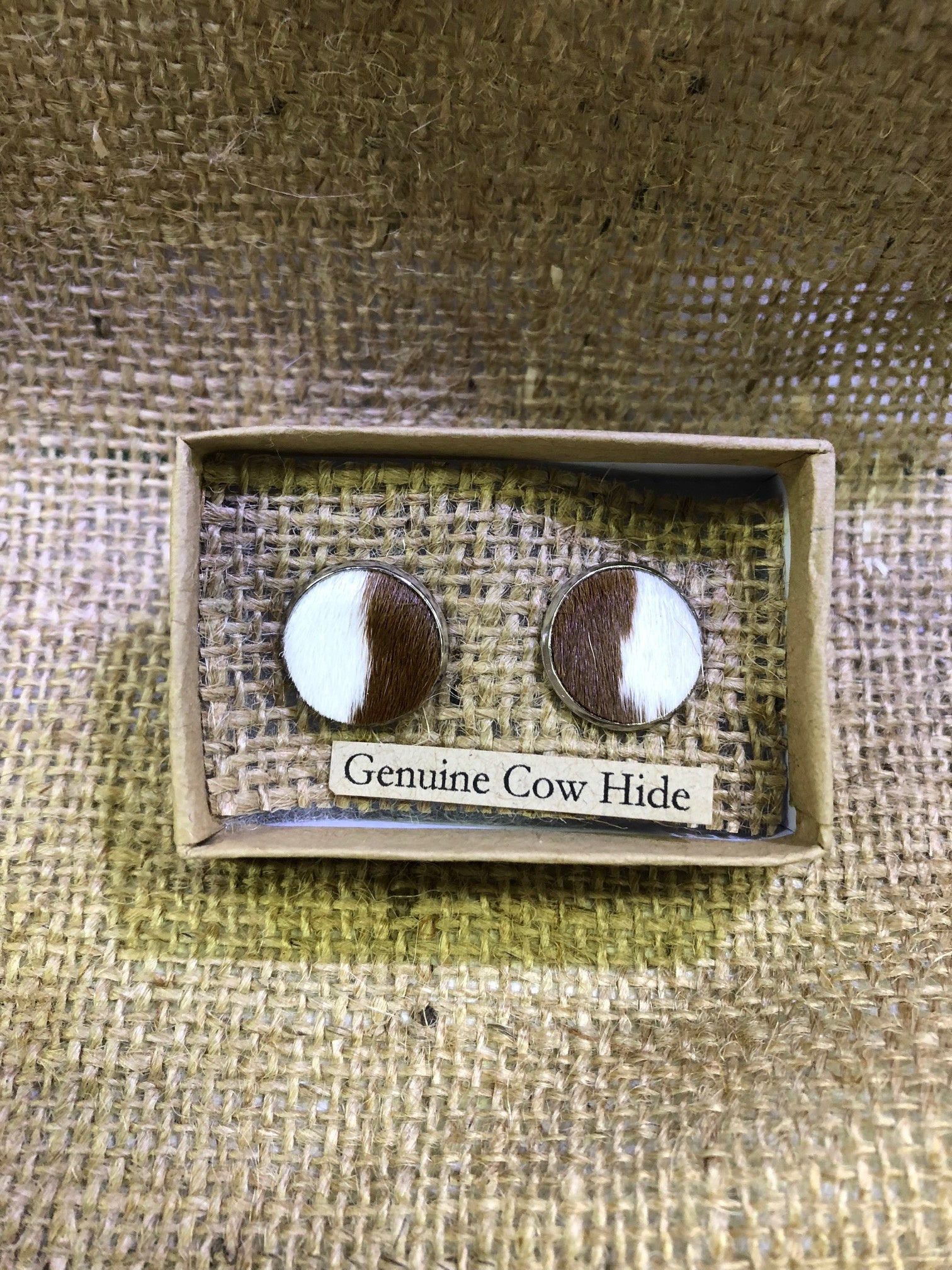 Brown & White Cowhide Studs
