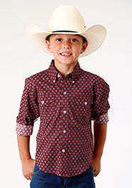 Roper Boys Burgundy Print Shirt