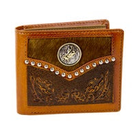 Wallet Bifold - Leather and Cowhide with Bull Rider Concho