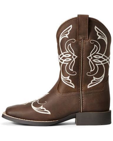 Ariat Kids Quickdraw Famous Distressed Brown Boots